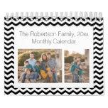 Black White Chevron Custom Photo Collage 24-Image Calendar