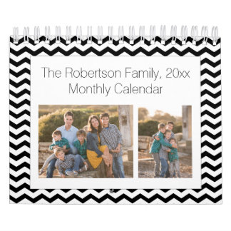 Black White Chevron Custom Photo Collage 24-Image Calendar