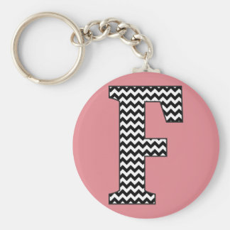Black & White Chevron F Monogram Basic Keychain