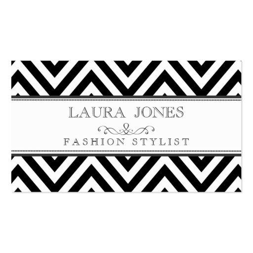 Black + White Chevron Fashion Stylist Template Business Card