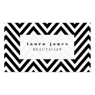 Black + White Chevron Fashion Stylist Template Business Card