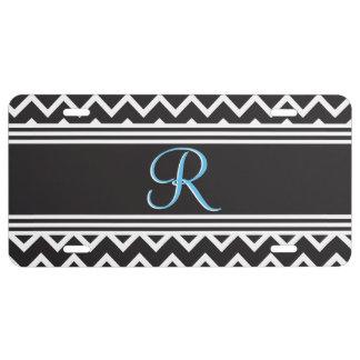Black   White Chevron Gothic Zigzag Monogram License Plate