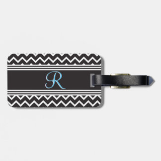 Black | White Chevron Gothic Zigzag Monogram Luggage Tag