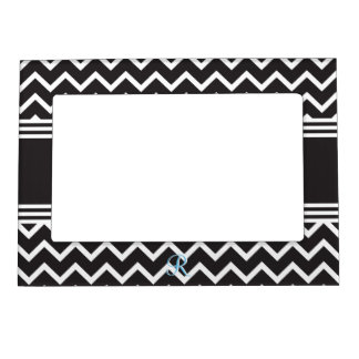 Black | White Chevron Gothic Zigzag Monogram Magnetic Photo Frame
