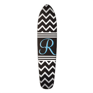 Black | White Chevron Gothic Zigzag Monogram Skateboard