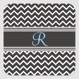 Black | White Chevron Gothic Zigzag Monogram Square Sticker