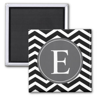 Black White Chevron Gray Monogram 2 Inch Square Magnet