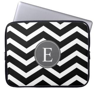 Black White Chevron Gray Monogram Laptop Sleeves