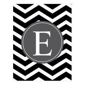 Black White Chevron Gray Monogram Postcard