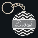 "Black White Chevron Gray Name Keychain<br><div class=""desc"">Customise this vibrant black and white chevron pattern and classic gray / grey text banner with the name of your choice.</div>"