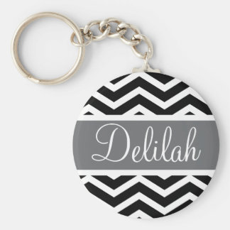 Black White Chevron Gray Name Keychain