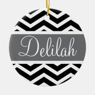 Black White Chevron Gray Name Double-Sided Ceramic Round Christmas Ornament