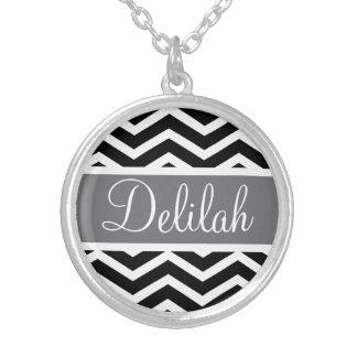 Black White Chevron Gray Name Silver Plated Necklace