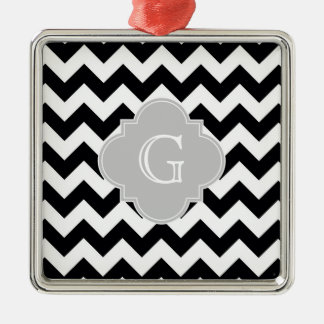 Black White Chevron Gray Quatrefoil Monogram Square Metal Christmas Ornament