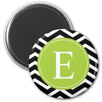 Black White Chevron Green Monogram 2 Inch Round Magnet