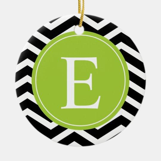 Black White Chevron Green Monogram Ceramic Ornament