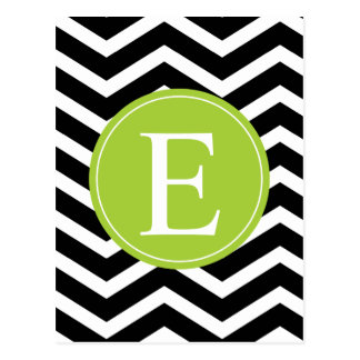 Black White Chevron Green Monogram Postcard