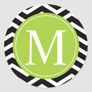 Black White Chevron Green Monogram Classic Round Sticker