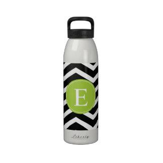 Black White Chevron Green Monogram Reusable Water Bottle