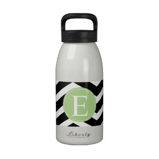 Black White Chevron Green Monogram Drinking Bottles