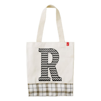 Black & White Chevron Letter R Monogram Zazzle HEART Tote Bag
