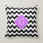 Black White Chevron Lilac Quatrefoil Monogram Pillow