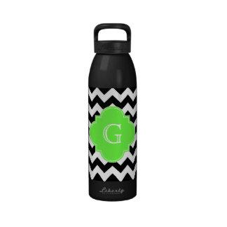 Black White Chevron Lime Green Quatrefoil Monogram Water Bottles
