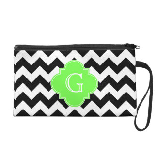 Black White Chevron Lime Green Quatrefoil Monogram Wristlet Purse