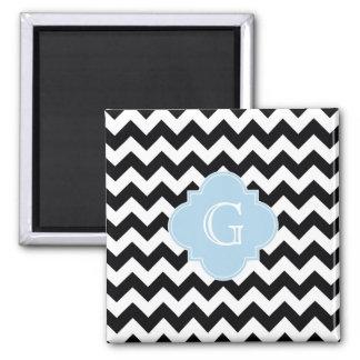 Black White Chevron Lt Blue Quatrefoil Monogram 2 Inch Square Magnet