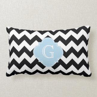 Black White Chevron Lt Blue Quatrefoil Monogram Pillow