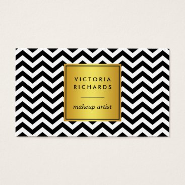 Professional Business Black & White Chevron Makeup Artist Business Card
