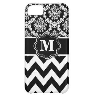 Black White Chevron Monogram iPhone 5C Covers