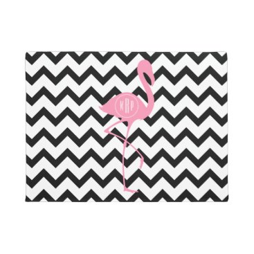Beach Themed Black   White Chevron Monogram Flamingo Doormat