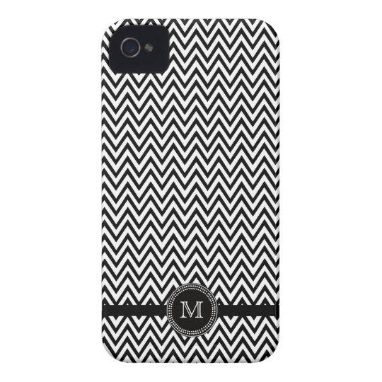 Black white chevron monogram iphone 4 case