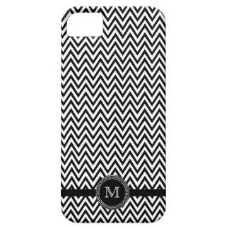 Black white chevron monogram iphone 5 case