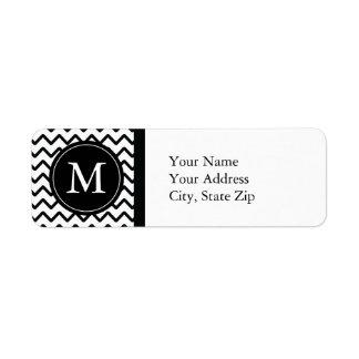Black & White Chevron Monogram Return Address Label