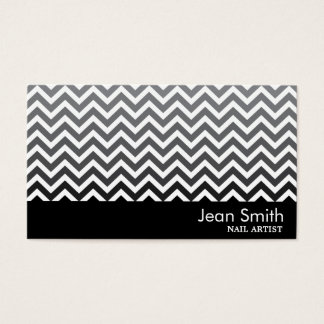 Black & White Chevron Nail Art Business Card