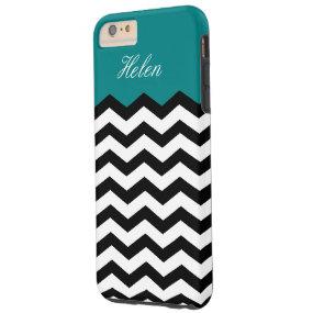 Black & White Chevron On Teal Blue Custom Monogram Tough iPhone 6 Plus Case