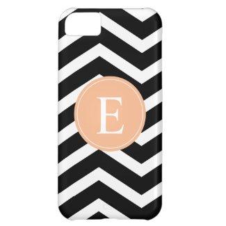 Black White Chevron Orange Monogram iPhone 5C Cases