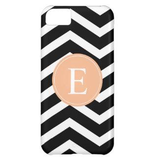 Black White Chevron Orange Monogram iPhone 5C Covers