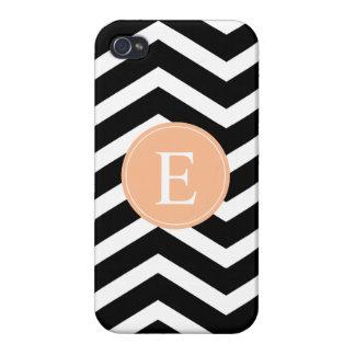 Black White Chevron Orange Monogram iPhone 4 Cases