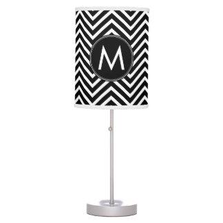 Black White Chevron Pattern Custom Monogram Desk Lamp