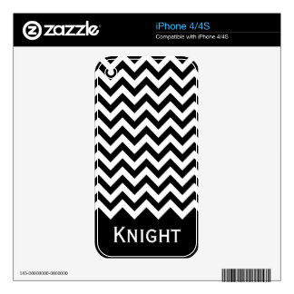 Black White Chevron Pattern Decals For The iPhone 4