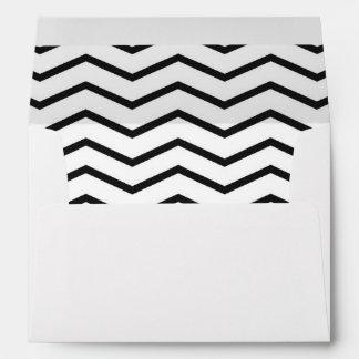 Black White Chevron Pattern Lined Envelope