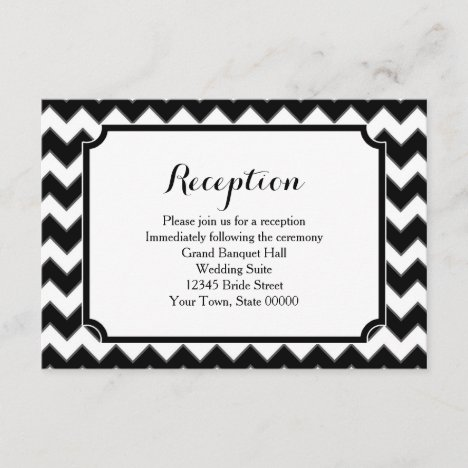 Black & White Chevron Pattern Reception Info Card