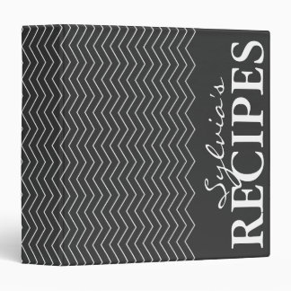 Black & white chevron pattern recipe binder book