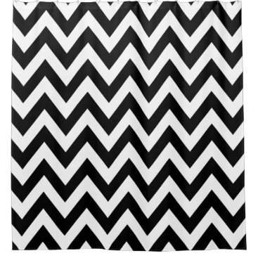 Beach Themed Black White Chevron Pattern Shower Curtain