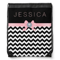 Black & White Chevron Pattern With Pink Ribbon Drawstring Backpack