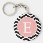 Black White Chevron Peach Monogram Basic Round Button Keychain