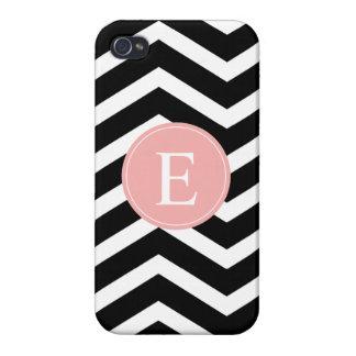 Black White Chevron Peach Monogram iPhone 4/4S Covers